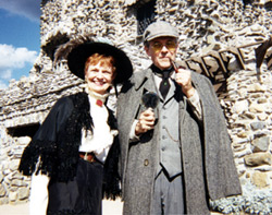 Helen & William Gillette outside Gillette Castle